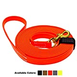 Viper Biothane K9 Working Dog Leash Waterproof Lead for Tracking Training Schutzhund Odor-Proof Long Line with Solid Brass Snap for Puppy Medium and Large Dogs 0.75 in Wide by 20 ft Long Orange