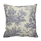 Jbralid French Vintage Toile Pillow Cover Cotton Linen Indoor Decor Throw Pillow Case 18x18 in