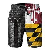 STDKNSK9 Men's Flag of Maryland Boardshorts Swimming Shorts White