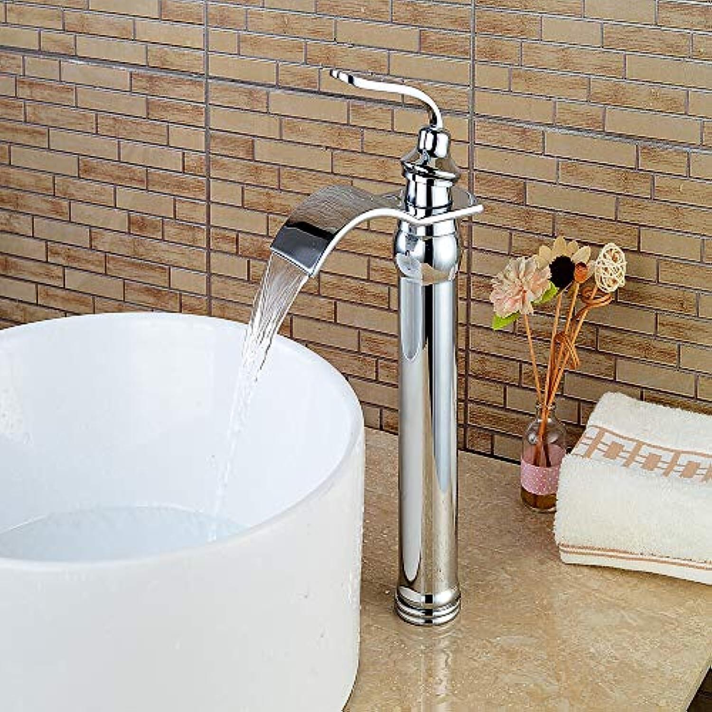 Fire wolf Wasserhahn:Moderne Mittellage Wasserfall Keramisches Ventil Einhand Ein Loch Chrom, Waschbecken Wasserhahn