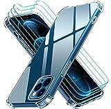 iVoler Cover Compatibile con iPhone 12 PRO Max 6.7 Pollici, Antiurto Custodia con Paraurti in TPU Morbido e 3 Pezzi Pellicola Vetro Temperato, Ultra Sottile Trasparente Silicone Protettiva Case