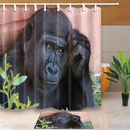 mintlmk Animal Decor een denkende Gorilla 71X71in polyester stof douchegordijn pak met 15.7x23.6in flanel anti-slip vloer deurmat bad tapijten