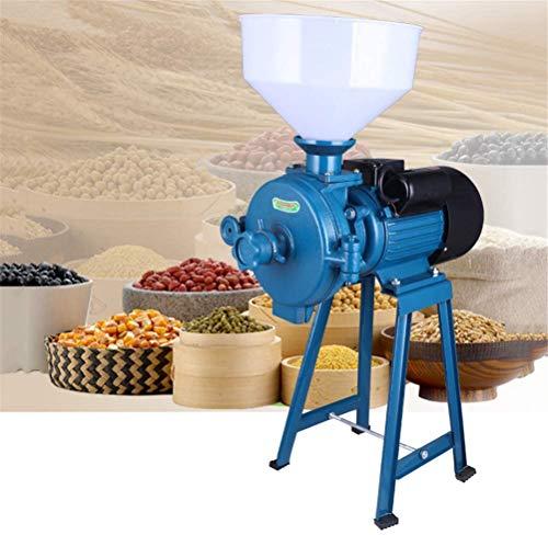 Molino de harina/alimentación eléctrica de 2200 W, máquina trituradora de Cereales Secos + Embudo, arroz, maíz, Grano, café, Trigo, Molino de alimentación, Cereales Secos húmedos,Azul