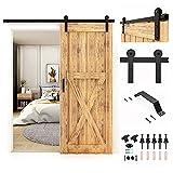 CCJH 152cm/5FT Herrajes Puertas Correderas Kit de Accesorios para Puertas Corredizas de Granero con Manija de la Puerta