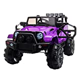 TOBBI Kids Ride on Truck Style 12V Battery Powered Electric Car W/Remote Control Purple