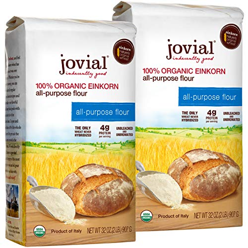 Jovial Einkorn Baking Flour | 100% Organic Einkorn All Purpose Flour | High Protein | Non-GMO | USDA Certified Organic | Delicious Taste | Product of Italy | 32 oz (2 Pack)