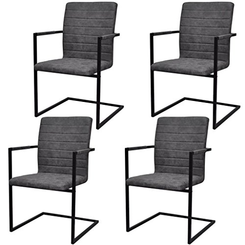 Festnight 4er Set Esszimmerstühle Schwingstuhl mit Armlehne | Essstuhl Küchenstuhl Freischwinger Stühle für Esszimmer Küche | Grau Geriffelt 53 x 61 x 88,2 cm