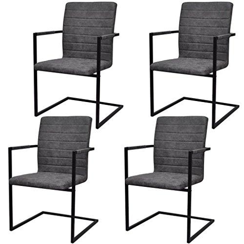 Festnight 4er Set Esszimmerstühle Schwingstuhl mit Armlehne | Essstuhl Küchenstuhl Freischwinger Stühle für Esszimmer Küche | Grau...