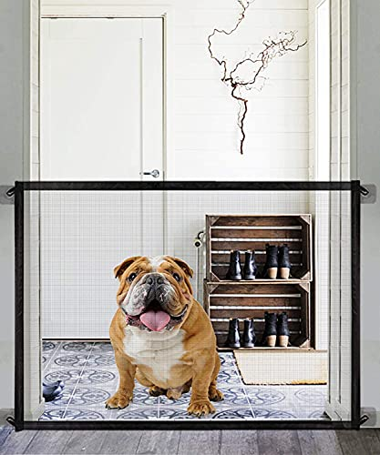 Magic Dog Gate -Queenii Pet Baby Safety Guard Gate, Portable Folding Mesh Magic Gate Baby Safety Gates Install Anywhere, Safety Fence for Hall Doorway Wide 40.02'-Black
