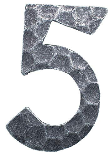 Fenau | Hausnummer 5 | Abmessung 12x8 cm | Material 4 mm gehämmert | Stahl (Roh) S235JR | Hausnummern aus Stahl/Schmiedeeisen/Rustikal, Nummer 5