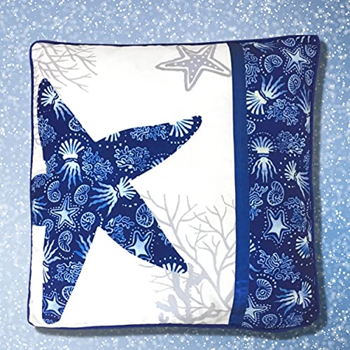 BANBERRY DESIGNS Starfish Pillow Cover - Beach Theme - Navy Coastal Decoration - 14.75 X 14.75 Inches Starfish Toss Covers - Nautical Bedding Pillow Ocean Print Blue and White…