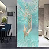 3D No Glue Static Decoration Window Film Glass Sticker, Woman with Snorkel and mask Holding a Starfish, Removable Vinyl Window Sticker for Home Décor, 35.4 x 78.7 Inch
