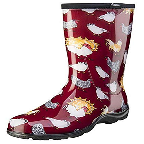 Sloggers Women's Waterproof Rain and Garden Boot with Comfort Insole, Chickens Barn Red, Size 7, Style 5016CBR07