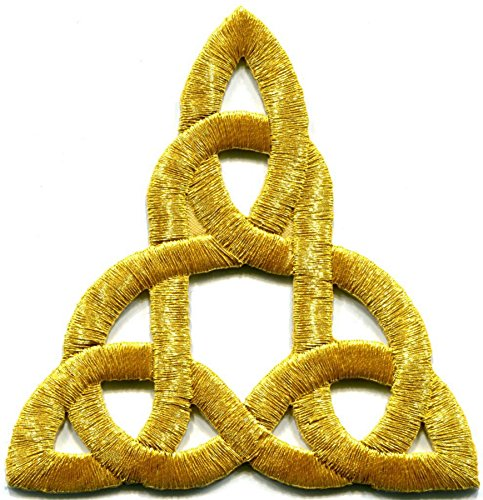 Celtic knot gold Irish goth biker tattoo retro magick embroidered applique iron-on patch new