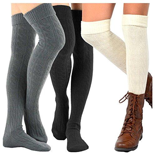 TeeHee Women's Fashion Over the Knee High Socks 3 Pair Combo (Cable Cuff Dark Combo)