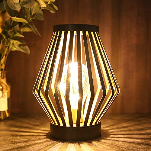 JHY DESIGN 22cm Tall Metal Cage LED Table Lamp Battery Powered Desk Cordless lamp Decorative Bedside Lamp with Edison Bulb for Bedroom Home Weddings Living Room Indoor Outdoor(Bronze, Diamond Shape)