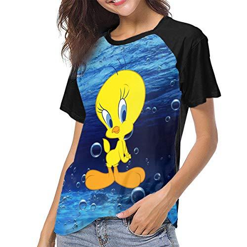 Actuallyhome Frauen Baseball Uniform mit kurzen Ärmeln T-Shirt Tweety Bird Bedrucktes T-Shirt für Erwachsene Sport Wear T-Shirts Jerseys