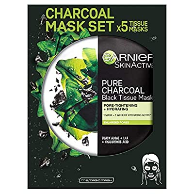 Garnier Charcoal and Algae Purifying Tissue Mask, Hydrating Tissue Face Sheet Mask for Enlarged Pores Pack of 5 from L'Oréal