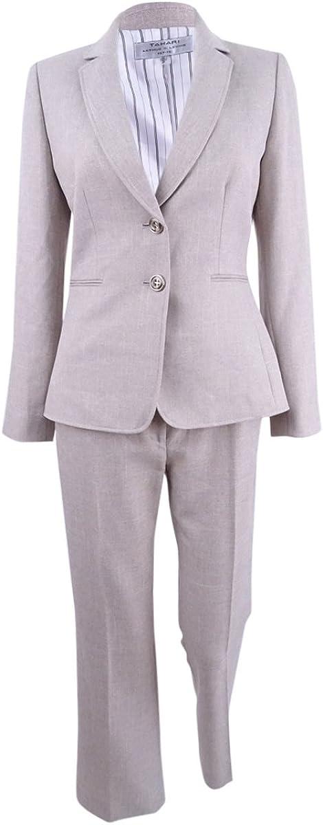 TAHARI ASL Women's Plus Size Two-Button Crosshatch Pantsuit