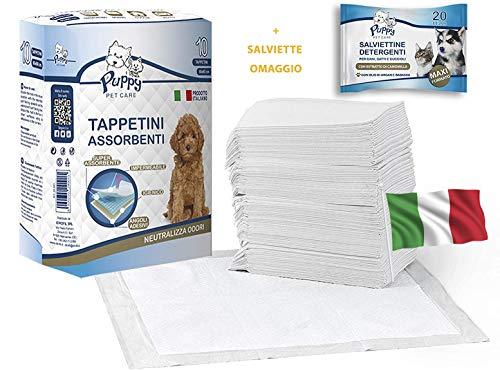 cubex professional® Tappetini traversine igienici assorbenti per Animali Domestici con Adesivo ed Anti Odore. + SALVIETTE DETERGENTI in Omaggio! 100% Made in Italy per Cani e Gatti (50, 60x60)