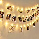 EleganBello Cadena de luces con pinzas 4m 40 LED Cadena de luces con pinzas 2 modos de luz Blanco cálido Guirnalda de luces con Clips para fotos ideal para colgar fotos, notas, Memos y de arte