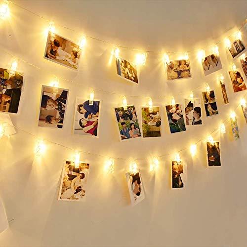EleganBello Cadena luces pinzas 4m 40 LED Cadena luces