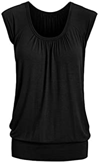 UONQD Summer T-shirt Women Casual Short Sleeve Round O Neck Solid Top Loose Blouse