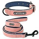 Yisatann Set de Correa Perro Collar de Perro Rosa y Correa Collares de Perro Acolchados de Cuero Juego de Cuerda de Plomo -2XL