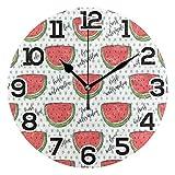 Reloj de pared con diseño de sandía roja fresca, punto, redondo, acrílico, negro, números grandes, silencioso, sin tictac, reloj, pintura decorativa, reloj con pilas, para la biblioteca del hotel de l