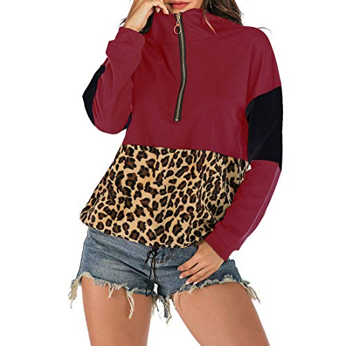 XWLY Women Top Autumn Chic Fashion Zipper Loose Long Sleeve Winter Elegant Classic Comfortable All-Match Casual New Women Jacket Women Pullovers Red_ M