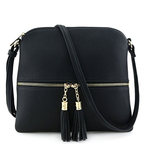 "Zipper closure & front zipper is a functional pocket Faux leather & gold tone hardware 1 zipper pocket & 1 open pocket inside 10"" (W) x 9"" (H) x 0.5"" (D)"