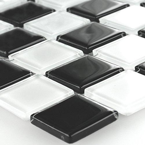 Preisvergleich Produktbild Glas Mosaik Fliesen Schachbrett Schwarz Weiss