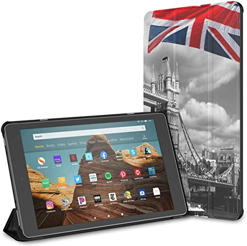 Case For England Uk Flag London City Tower Bridge Fire Hd 10 Tablet (9th/7th Generation, 2019/2017 Release) Fire10TabletCase Kindle10CaseWithStand Auto Wake/sleep For 10.1 In