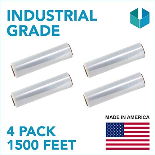 18'x 1500 FT Roll - 80 Gauge Thick + Hybrid Technology, 4 Pack. Stretch wrap Moving & Packing Wrap. Industrial Strength, Plastic Pallet Shrink Film Ideal for Furniture, Boxes, Pallets… (Clear)