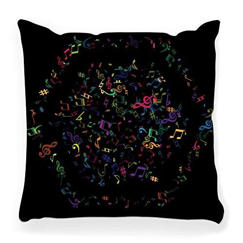 Toobaso - Federa decorativa per cuscino, quadrata, 45 x 45 cm, con note musicali isolate, colore: nero, con scritta 'Sinfonia sonora' e melodia, album artistico, decorazione per la casa