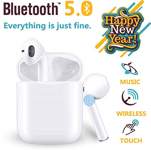 VCshow Bluetooth Hoofdtelefoon Draadloze Headset Bilaterale Oproep Bluetooth Headset 5.0 in-Ear Oortelefoon Stereo in-Ear Microfoon Ingebouwde Handsfree Hoofdtelefoon voor Apple Airpods Android/iPhone