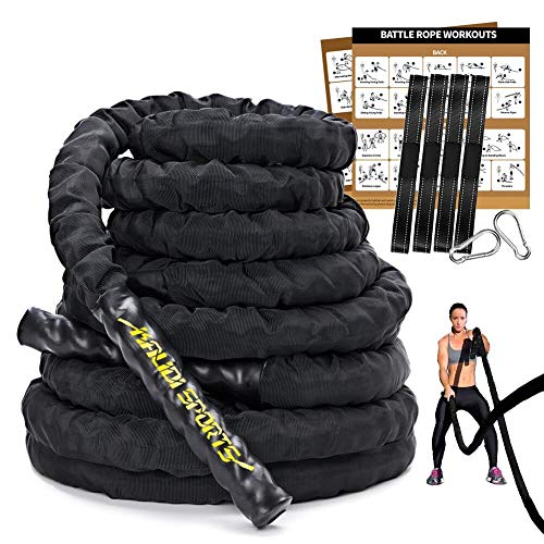 KALIDI Battle Ropes Kit, Krafttraining, 100{1f7b0cc613e2fe2c7e9ea847602deee8d9c3049073693c9e809fa470d0036df3} Poly-Dacron, schweres Kampfseil, verbesserte strapazierfähige Schutzhülle, Cardio-/Fitness-Übungsseil mit Workout-Poster-Ankergurt-Set