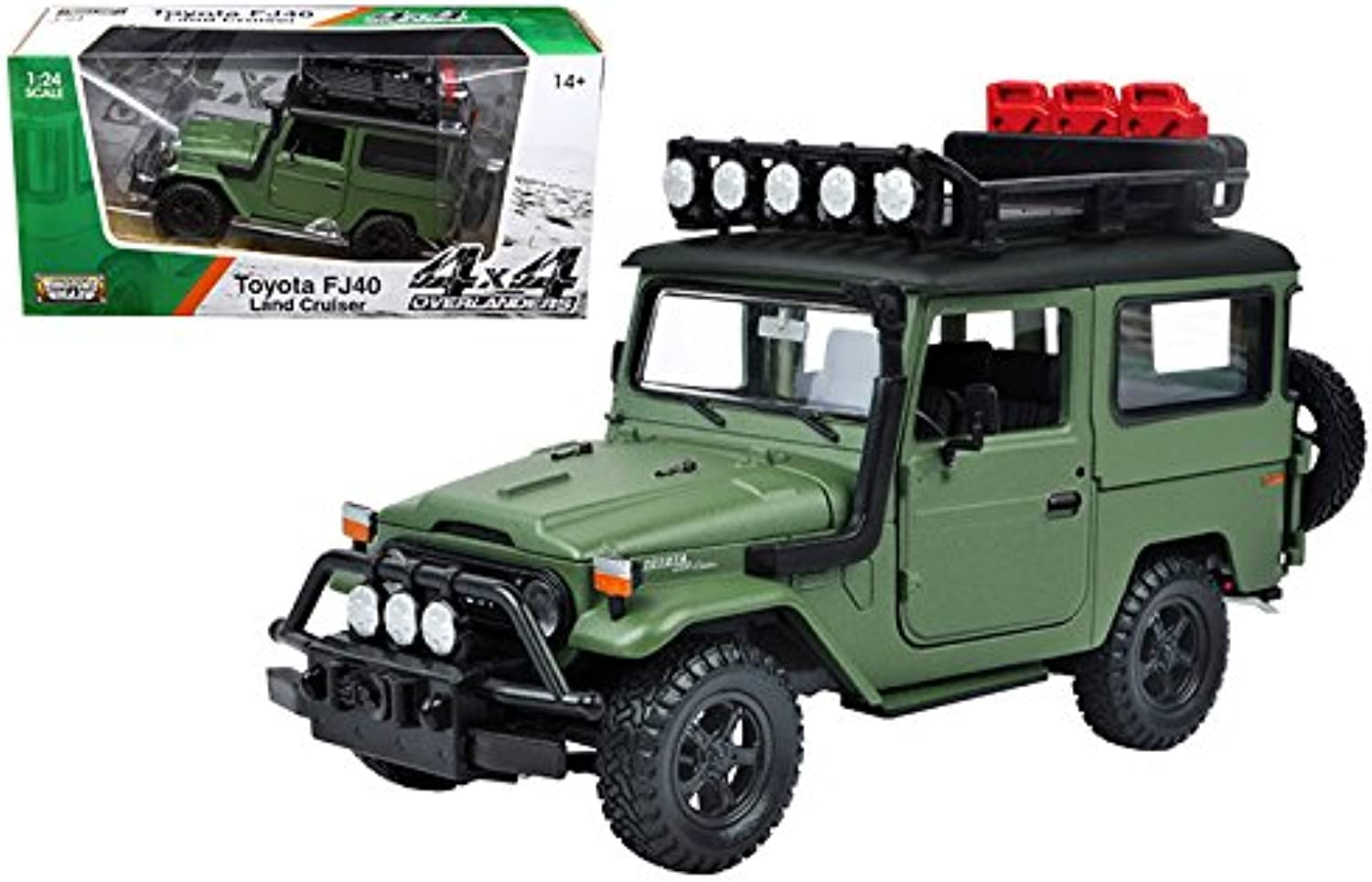 Motor Max 1 24 WINDOW BOX 4X4 Overlanders Toyota FJ40 Land Cruiser MJ Exclusive Diecast Vehicle, Green