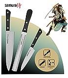 Samura HARAKIRI Set de 3 Cuchillos profesionales de cocina: Chef, Multiusos y Sierra - japoneses – Acero Inoxidable AUS-8 y Mango Ergonómico de ABS