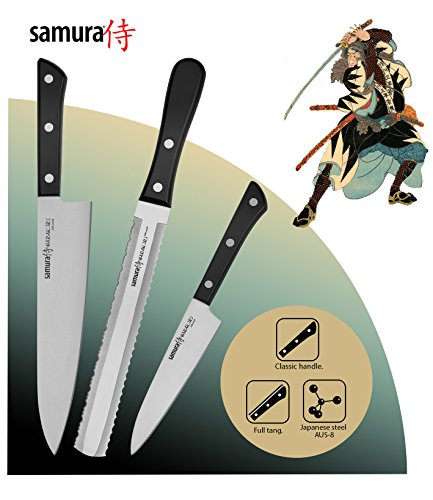 Samura HARAKIRI Profi Messer Geschenk Set ultra-scharf, aus japanisch AUS 8 Edelstahl, 3 Teile, Gemüsemesser, doppelschneidiges Sägemesser, Kochmesser, ergonomischer Griff