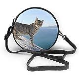 TURFED Bolso de hombro redondo de PU Classic Cat Feline Calpe Alicante España Crossbody Bag