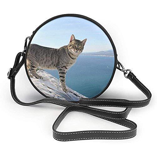 TURFED Bolso de hombro redondo de PU Classic Cat Feline Calpe Alicante...