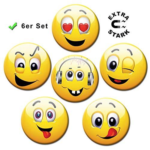Magnete Smiley für Glasmagnettafel 6er Geschenk Set Happy Faces lustig für Kinder extra stark groß Ø 50 mm Gelb