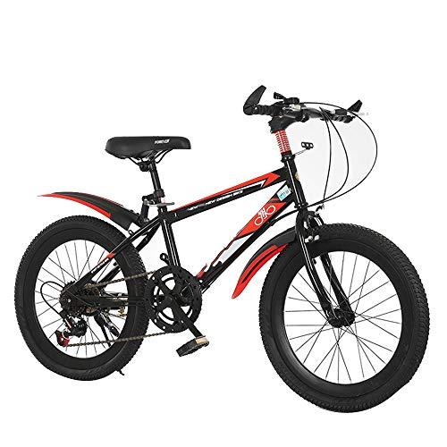 YUMEIGE Kinderfietsen Kinderfietsen 18 20 Inch, Mountainbikes 6-speed aanpassing, road Bikes Koolstofstaal Frame 2-15 jaar oud gebruik Zwart, Blauw, Rood 18 Zwart