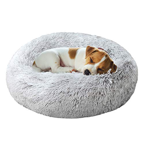 TVMALL Hundebett Katzenbett Rundes Kissen Schöne Tierbett Plüsch Weich Kissen für Hunde Betten & Sofas für Katzen Für Welpen, Katzen, Kleintiere Donut-Bett selbstwärmende Katzenbetten 50CM