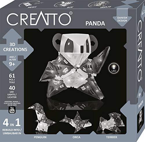 CREATTO Panda 3D-Leuchtfiguren entwerfen, 3D-Puzzle-Set für Panda, Pinguin, Schwert-Wal oder Terrier, gestalte kreative Zimmer-Deko, 61 Steckteile, 40-tlg. LED-Lichterkette, für Kinder & Erwachsene