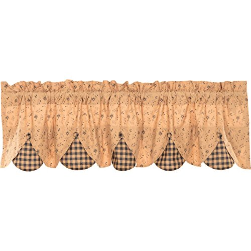"""VHC Brands Classic Country Primitive Kitchen Window Curtains-Maisie Lined Valance, 18"""" x 60"""", Natural Tan"""