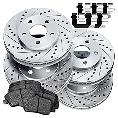 Fit Toyota 4Runner, FJ Cruiser Front Rear Drill Slot Brake Rotors Kit+Ceramic Pads
