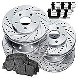Full Kit Cross-Drilled Slotted Brake Rotors Kit and Ceramic Brake Pads BLCC.42089.02