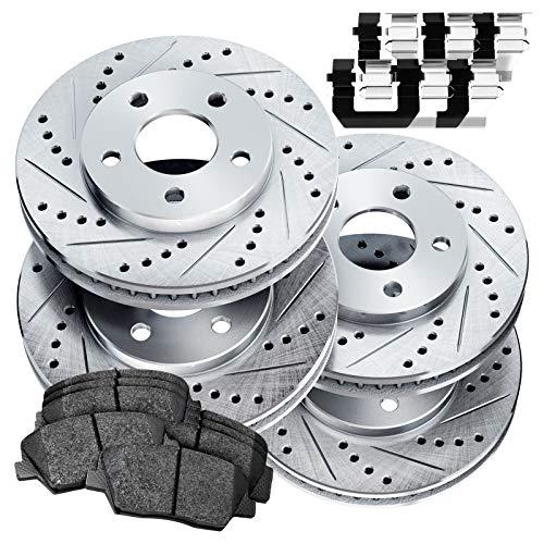 Power Sport Front Rear Silver Zinc Cross-Drilled Slotted Brake Rotors Kit + Ceramic Brake Pads